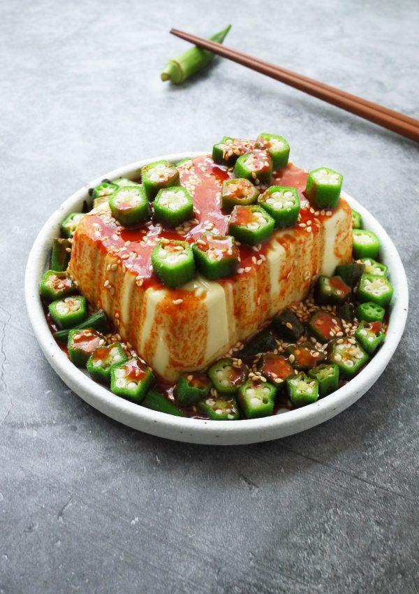 韓式涼拌秋葵豆腐